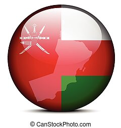 Map on flag button of Sultanate Oman