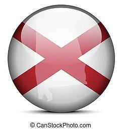 Map on flag button of USA Alabama State