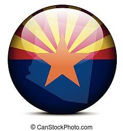 Map on flag button of USA Arizona State