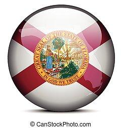 Map on flag button of USA Florida State