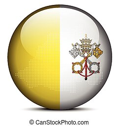 Map on flag button of Vatican City State (Holy See)