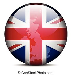 Map on flag button - United Kingdom of Great Britain and Northern Ireland