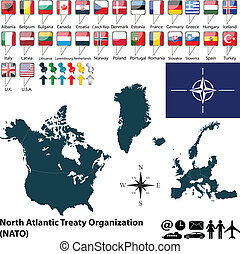 Map on NATO - Vector of 28 members of NATO with maps and...