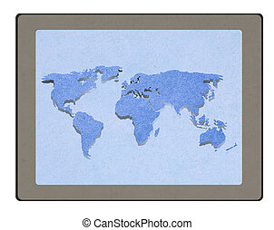 Map On Tablet PC Computer Monitor with staple recycled paper craft stick