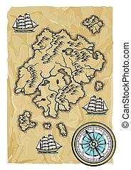 map., oud, achtergrond, nautisch
