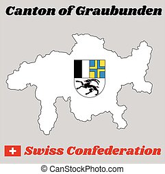 Map outline and Coat of arms of graubunden, The canton of Switzerland