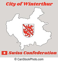 Map outline and Coat of arms of Winterthur, The city in the canton of Zurich in Switzerland