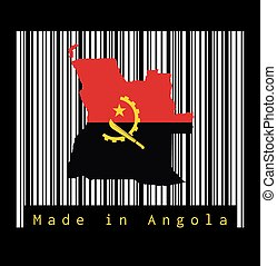 Map outline and flag of Angola, red and black with the Machete and Gear Emblem on the white barcode with black background, text: Made in Angola.