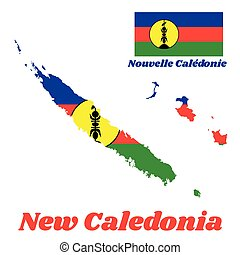 Map outline and flag of New Caledonia, A horizontal ...
