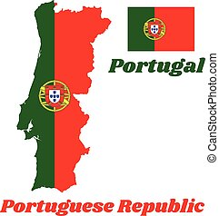 Map outline and flag of Portugal, a 2:3 vertically striped bicolor of green and red, with the lesser coat of arms of Portugal centred over the color boundary.