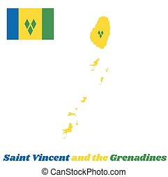 Map outline and flag of Saint Vincent. vertical tricolour of...
