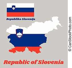 Map outline and flag of Slovenia, a horizontal tricolour of ...