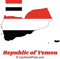 Map outline and flag of Yemen, a horizontal tricolour of red...