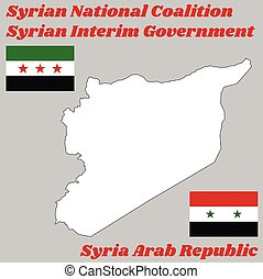 Map outline in white color and two flags of Syria, ...