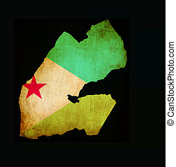 Map outline of Djibouti with flag grunge paper effect