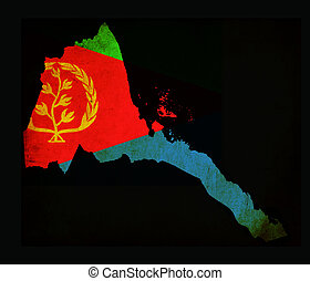 Map outline of Eritrea with flag grunge paper effect