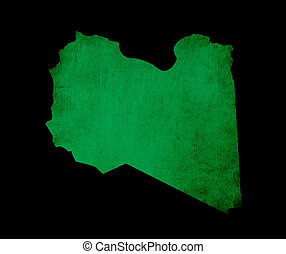 Map outline of Libya with flag grunge paper effect