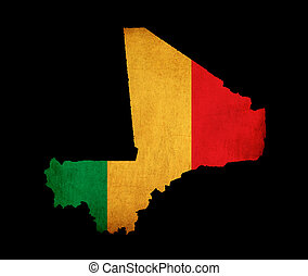 Map outline of Mali with flag grunge paper effect