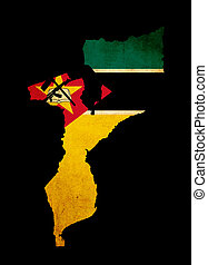 Map outline of Mozambique with flag grunge paper effect