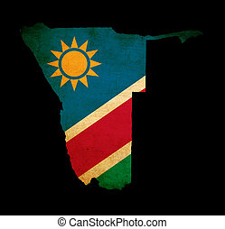 Map outline of Namibia with flag grunge paper effect