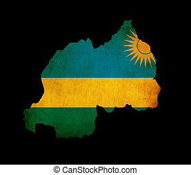 Map outline of Rwanda with flag grunge paper effect