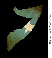 Map outline of Somalia with flag grunge paper effect
