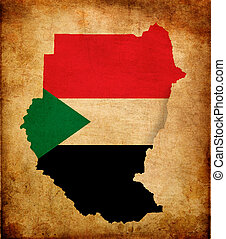 Map outline of Sudan with flag grunge paper effect