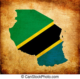 Outline map of Tanzania with flag and grunge paper effect