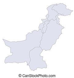 Map Pakistan - A stylized map of Pakistan showing the ...