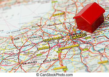 map paris with hotel symbol