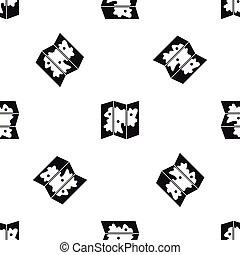 Map pattern seamless black