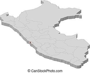 Map - Peru, Callao - 3D-Illustration - Map of Peru as a gray...