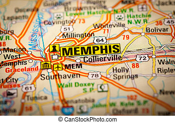 Map Photography: Memphis City on a Road Map