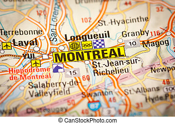 Montreal City on a Road Map - Map Photography: Montreal City...