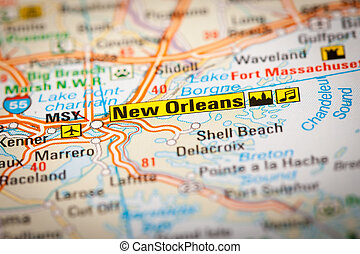 New Orleans - Map Photography: New Orleans City on a Road...