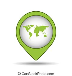 map pin green world icon