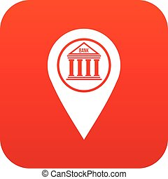Map pin icon digital red