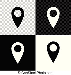 Map pin icon isolated on black, white and transparent background. Pointer symbol. Location sign. Navigation map, gps, direction, place, compass, contact, search concept. Vector Illustration