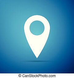 Map pin icon isolated on blue background. Pointer symbol. Location sign. Navigation map, gps, direction, place, compass, contact, search concept. Flat design. Vector Illustration