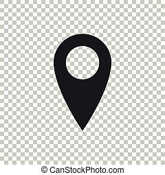 Map pin icon isolated on transparent background. Pointer symbol. Location sign. Navigation map, gps, direction, place, compass, contact, search concept. Flat design. Vector Illustration