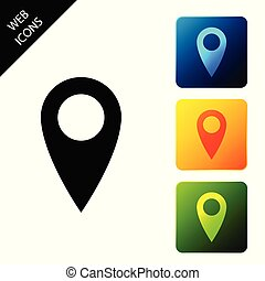 Map pin icon isolated on white background. Pointer symbol. Location sign. Navigation map, gps, direction, place, compass, contact, search concept. Set icons colorful square button. Vector Illustration