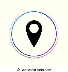 Map pin icon isolated on white background. Pointer symbol. Location sign. Navigation map, gps, direction, place, compass, contact, search concept. Circle white button. Vector Illustration