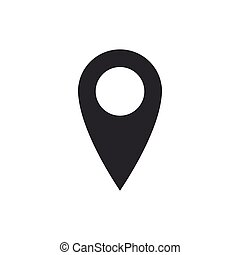 Map pin icon isolated. Pointer symbol. Location sign. Navigation map, gps, direction, place, compass, contact, search concept. Flat design. Vector Illustration