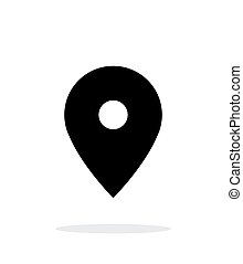 Map pin icon on white background.
