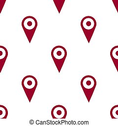 Map pin icon seamless pattern, isolated on white background. Vector illustration, easy to edit.