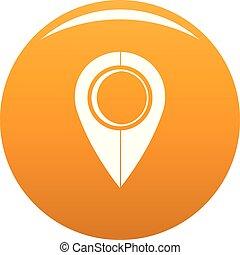 Map pin icon vector orange