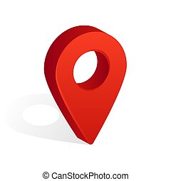 Map Pin Icon with Shadow Isolated on White Background. Vector Illustration