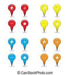 map pin icons with drop shadow ideal for satellite...