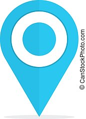 Map pin location sign blue icon on white background