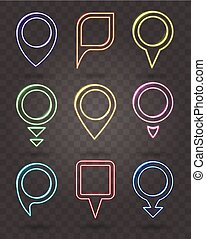 Map pin neon signs. Vector illuminated frames for place points